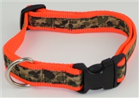 "1"" Adj. Large (16.5""-25.5"") Dog Collar Neon Orange W/ Khaki Camo Ribbon Overlay"