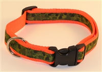 "1"" Adj. Large (16.5""-25.5"") Dog Collar Neon Orange W/ Olive Camo Ribbon Overlay"
