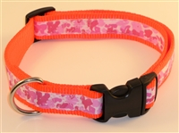 "1"" Adj. Large (16.5""-25.5"") Dog Collar Neon Orange W/ Pink Ribbon Overlay"