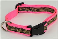 "1"" Adj. Large (16.5""-25.5"") Dog Collar Neon Pink W/ Khaki Camo Ribbon Overlay"