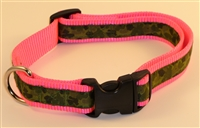 "1"" Adj. Large (16.5""-25.5"") Dog Collar Neon Pink W/ Olive Camo Ribbon Overlay"