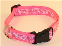 "1"" Adj. Large (16.5""-25.5"") Dog Collar Neon Pink W/ Pink Ribbon Overlay"