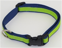 "Home Team - 1"" Adj. Large (16.5""-25.5"") Dog Collar Navy W/ Bright Green Ribbon Overlay"