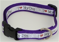 "1"" Adj. Large (16.5""-25.5"") Dog Collar Purple W/ Love Dog Ribbon Overlay"