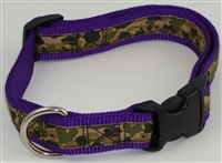 "1"" Adj. Large (16.5""-25.5"") Dog Collar Purple W/ Khaki Camo Ribbon Overlay"