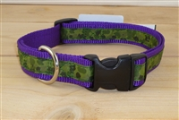 "1"" Adj. Large (16.5""-25.5"") Dog Collar Purple W/ Olive Camo Ribbon Overlay"