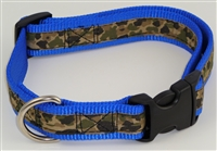"1"" Adj. Large (16.5""-25.5"") Dog Collar Royal Blue W/ Khaki Camo Ribbon Overlay"