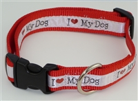 "1"" Adj. Large (16.5""-25.5"") Dog Collar Red W/ Love Dog Ribbon Overlay"