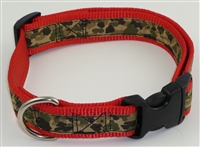 "1"" Adj. Large (16.5""-25.5"") Dog Collar Red W/ Khaki Camo Ribbon Overlay"