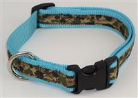 "1"" Adj. Large (16.5""-25.5"") Dog Collar Turquoise W/ Khaki Camo Ribbon Overlay"