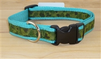"1"" Adj. Large (16.5""-25.5"") Dog Collar TURQUOISE W/ Olive Camo Ribbon Overlay"