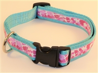 "1"" Adj. Large (16.5""-25.5"") Dog Collar Turquoise  W/ Pink Ribbon Overlay"