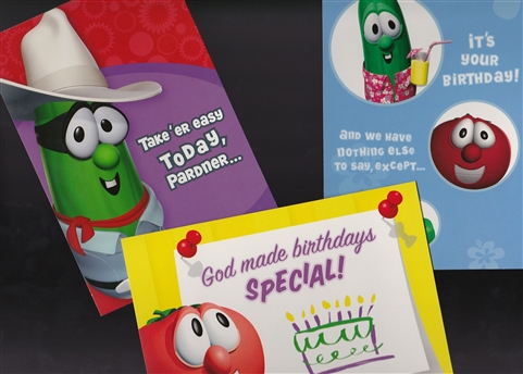 A Box Set Of 12 Veggie Tales Cards There Are Four Designs And Three