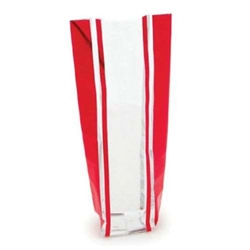 "100 Cellophane Bags 2"" x 2"" x 8"" Foil Striped Red"