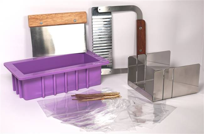 Soap mold, mitre box, cutters and packaging
