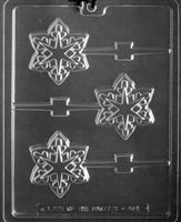 Snowflake Geo Lolly Chocolate Candy Mold with Exclusive Cybrtrayd Copyrighted Molding Instructions