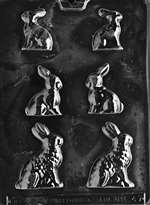 3 Sized Bunnies Chocolate Candy Mold