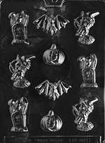 Assorted with Bat Halloween Chocolate Candy Mold