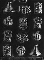 Assorted with Hat Halloween Chocolate Candy Mold