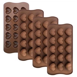 150-pack Dimpled Hearts Silicone Mold for Hard Candy, Chocolate, Plaster, Jello