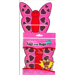 Pack of 12 Valentines Love Bug Favor Bags and Tags Candy Making Supplies