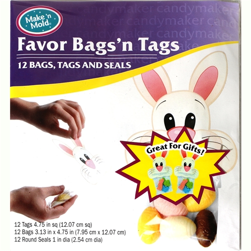 Pack of 12 Easter Bags and Write-on Tags Candy Making Supplies