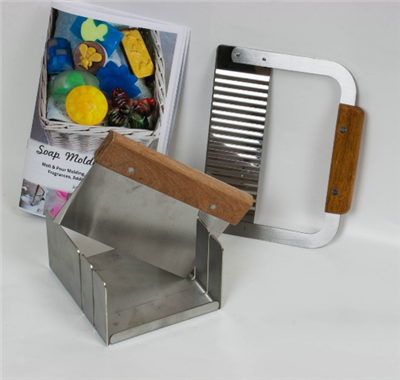"Stainless Steel Soap Mitre Box Miter Set with Slots for 1"" & 2"" . Includes Straight and Wavy Cutters and Soap Molders Guide"