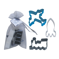 Transportation 3 Piece Colorful Cookie Cutter Set In Bag