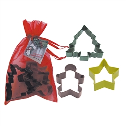 Christmas 3 Piece Colorful Cookie Cutter Set In Bag