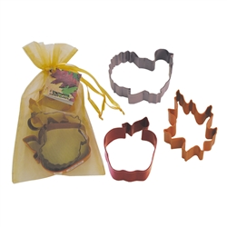 Thanksgiving 3 Piece Colorful Cookie Cutter Set in Bag