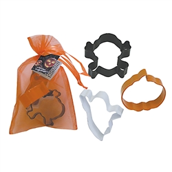 Halloween 3 Piece Colorful Cookie Cutter Set in Bag