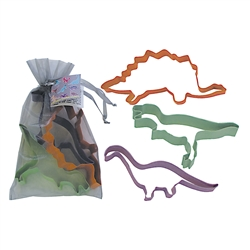Dinosaur 3 Piece Colorful Cookie Cutter Set In Bag