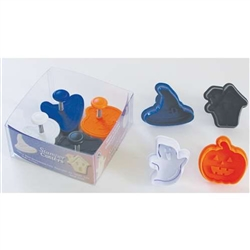 Halloween Pastry & Cookie Stamper Set of 4 - Haunted House, Witch Hat, Ghost, Pumpkin