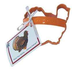 "Turkey 3.75"" Polyresin Coated Cookie Cutter Orange with Handle"