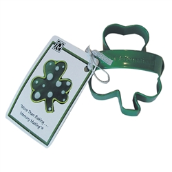 "Shamrock 3"" Polyresin Coated Cookie Cutter Green with Handle"