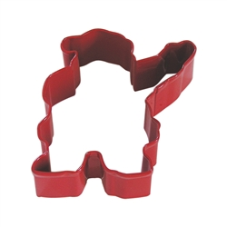 "Waving Santa 4"" Polyresin Coated Cookie Cutter Red"