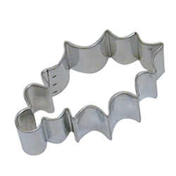 "Holly Leaf 3.25"" Tinplated Steel Cookie Cutter"