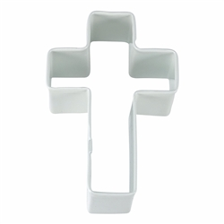 "Cross 4"" Polyresin Coated Cookie Cutter White"