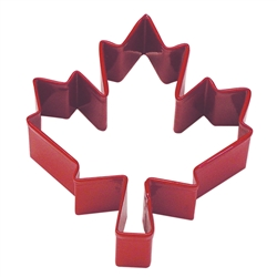 "Canadian Maple Leaf 3"" Polyresin Coated Cookie Cutter Red"
