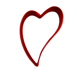 "Folk Heart 3"" Polyresin Coated Cookie Cutter Red"