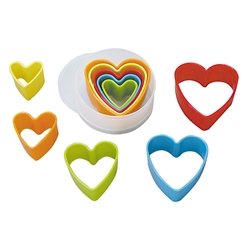 Heart Biscuit Cutters, Plastic - Set of 5