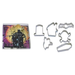 Scary Halloween 6 Piece Cookie Cutter Set - Coffin, Skull & Crossbones, Tombstone, House, Bat, Ghost