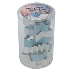 Winter Theme 8 Piece Cookie Cutter Set in Cylinder