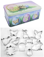 10 Piece Easter and Springtime Cookie Cutter Set in Metal Gift Box