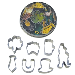 Small Irish 7 Piece Cookie Cutter Set In Tin