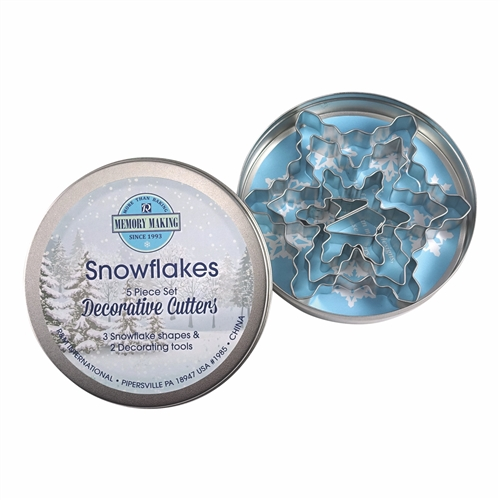 Snowflake Cookie Cutter 5 Piece Set In Can