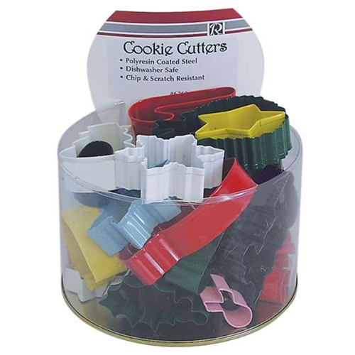Assorted Colorful Christmas Cookie Cutters - Bucket of 36