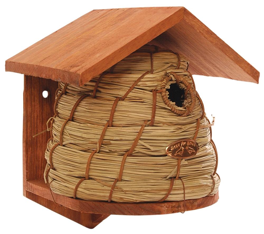 Esschert Design Beehive Bird House Wood Reed