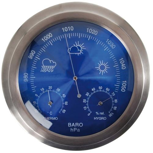 Round Metal Weather Station Og Barometer Thermometer Hygrometer Celsius