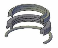 "JV-KR300-500, ROD SEAL KIT, 5"" ROD, URETHANE"